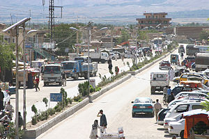 Bagram - Bazaar and part of the city of Bagram.