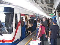 * Desription: Bangkok skytrain at Asoke...