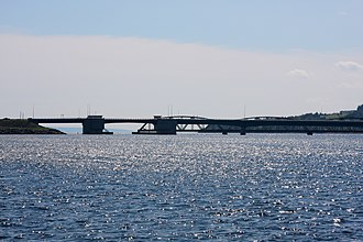 Barra Strait - Approaching the Barra Strait and its bridges from the north.  In the foreground is Barra Strait Bridge.  Behind it (with the arched spans) is the Grand Narrows Bridge.