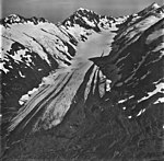 Bartlett Glacier, terminus of mountain glacier, firn line, and hanging glaciers with bergschrund on the mountainsides, September (GLACIERS 6562).jpg