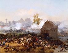 Painting by Alonzo Chappel, 1858, showing the frantic battle scene of Battle of Long Island, with smoke in the background