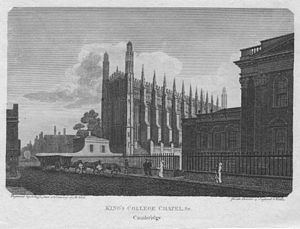 The Beauties of England and Wales - Illustration of King's College Chapel, Cambridge, from Beauties of England and Wales volume 2, 1801
