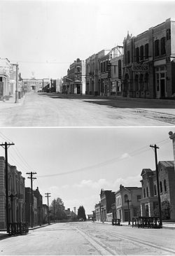 Top: Genesee Street looking toward the courthouse. Bottom: Genesee Street looking toward the Station. Shots used in the film Cimarron (1931).