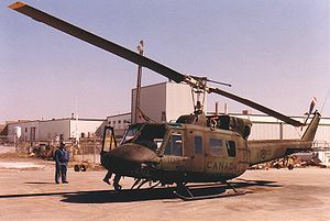 Bristol Aerospace - A Canadian Forces CH-135 Twin Huey after Depot Level Inspection and Repair undergoing testing flying at Bristol Aerospace in 1987