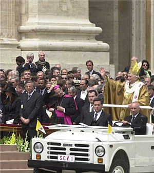 "Papal inauguration - Pope Benedict XVI's first trip in the ""Popemobile"" at his inauguration"