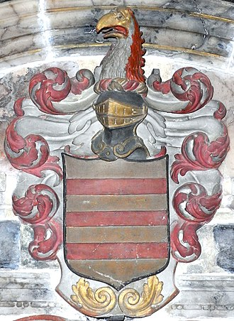 John Berry (Royal Navy officer) - Heraldic achievement of Rev. Daniel Berry (1609-1654), vicar of Molland cum Knowstone, on mural monument in Molland Church, Devon, erected in 1684 by his son Admiral Sir John Berry (1635-1689). Arms: Or, three bars gules, which arms are depicted on the mural monument in Berrynarbor Church of Richard Berrie Esq. (1582-1645), lord of the manor of Berrynarbor. Crest: A mythical bird's head and neck couped per pale argent and gules beaked or