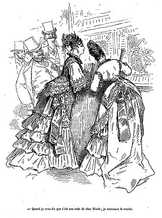 "Charles Frederick Worth - ""I told you it was a dress from Worth's. I know the look"" – an 1875 cartoon by Bertall"