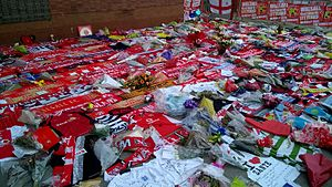 2015 Sousse attacks - Football scarves and shirts were laid as a tribute outside Bescot Stadium, home of Walsall F.C., the team which three of the British victims supported.