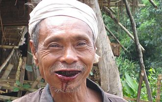 Paan - Health effects: Tobacco-filled paan induces profuse salivation that stains mouth area.