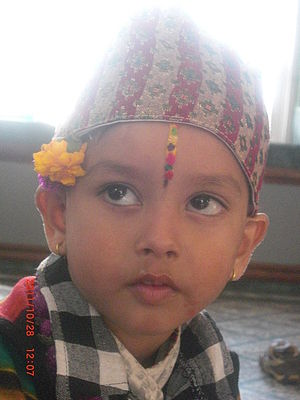 Bhai Dooj - A boy, wearing the ''tika'', made for special occasion of tihar in Nepal