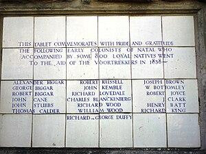 Biggar family - A sign commemorating the Biggar expeditions, at the Old Fort, Durban