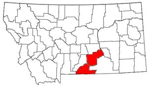 Billings Metropolitan Area - Location of the Billings Metropolitan Statistical Area in Montana.