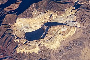 Man-made structures visible from space - Bingham Canyon Mine near Salt Lake City, Utah from the International Space Station in 2007