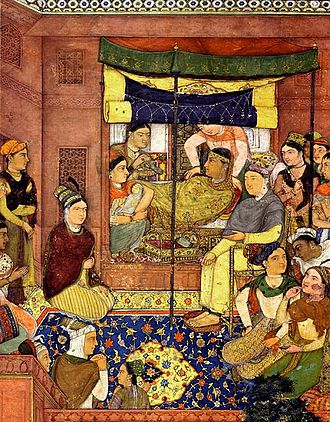 Mariam-uz-Zamani - A painting describing the scene of the birth of the 4th Mughal emperor of India, Jahangir.