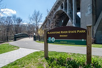 Blackstone River Greenway - Bikeway and park sign