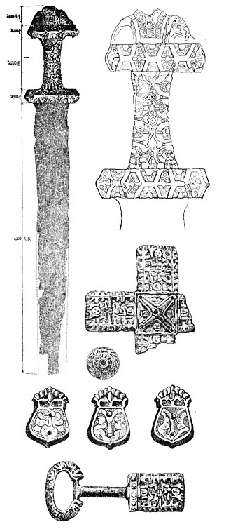 "Great Moravia - Great Moravian sword from Blatnica, unearthed in the 19th century, originally interpreted as a burial equipment from a ""ducal"" mound"