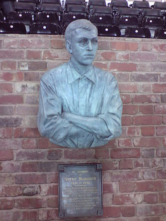 Pride Park Stadium - The bust of Steve Bloomer, located adjacent to the home team's dugout.