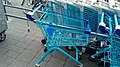 Blue Albert Heijn shopping carts at the Albert Heijn Sumatrastraat, The Hague (2019) 03.jpg