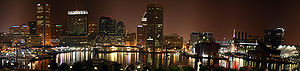 A night time panorama of Baltimore's Inner Harbor