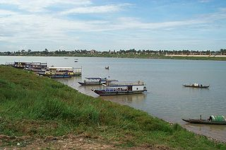 Tour boats in the Tonle Sap river