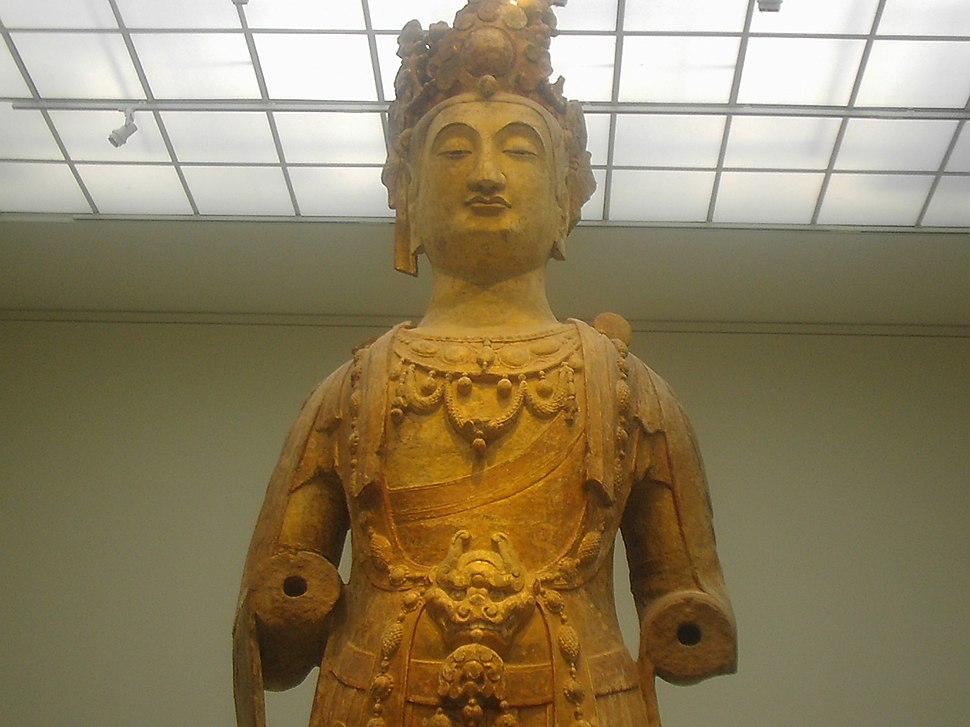 Bodhisattva, sandstone with polychrome and gilt, Northern Qi Dynasty