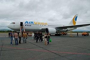 Yuzhno-Sakhalinsk Airport - KrasAir Boeing 767-200 in AiRUnion livery at Yuzhno-Sakhalinsk Airport.