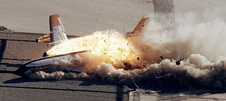 Armstrong Flight Research Center - A remotely piloted Boeing 720 is destroyed in the Controlled Impact Demonstration.