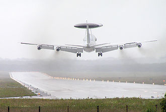 Crosswind - In a crosswind landing, the fuselage of the plane may be skewed relative to the runway