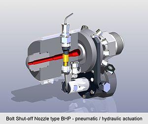 Shut-off nozzle - Bolt Shut-off Nozzle type BHP - pneumatic or hydraulic actuation