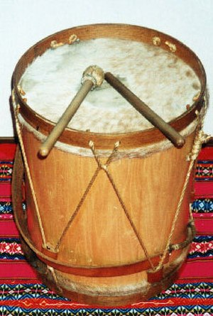 Bombo legüero - Typical bombo legüero made of wood and sheep's skin.