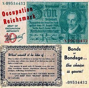 If Day - Fake German Reichsmarks; the reverse features an advertisement for Victory Loans.