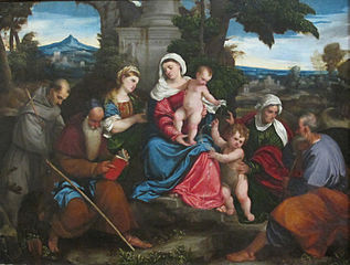 The Holy Family with Sts. Francis, Anthony, Magdalene, John the Baptist and Elizabeth