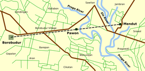 Location of Borobudur-Pawon-Mendut in one straight line.