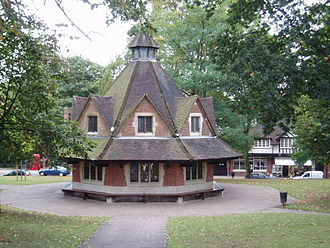 Bournville - Bournville Rest House was built to celebrate the Silver Wedding Anniversary of George and Elizabeth Cadbury, and was paid for by the employees of Cadbury Brothers Ltd. The design is by William Alexander Harvey, who was architect of many of the buildings on the estate and is based on the 17th century Yarn Market in Dunster, Somerset. Currently, the building houses the Visitors Centre for the Carillon.
