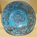 Bowl with flowers from Iran, 13th century, glazed stone-paste, underglaze-painted, HAA.JPG