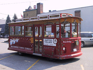 Bracebridge, Ontario - The Bracebridge Towne Express trolley, sponsored by Santa's Village, provides the town with local public transport. However, it only makes trips to Santa's Village on Sunday afternoons during the summer season.