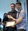 Brian Carver accepting Wikimedia award.jpg