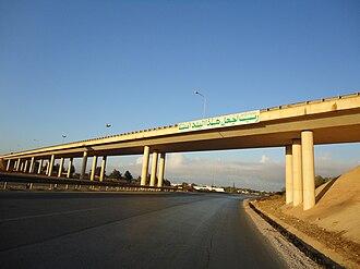 Bayda, Libya - Libyan Coastal Highway with bridge overpass, to the east of Bayda