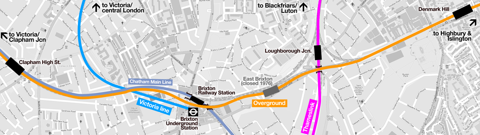 Map of rail & tube lines passing through Brixton