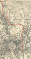Brno, stará mapa s vyznačenou tratí Brno - Tišnov.png