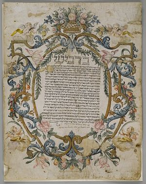 Jewish views on marriage - Jewish marriage certificate, dated 1740 (Brooklyn Museum)