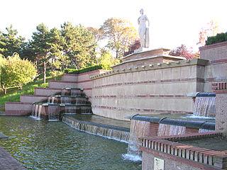 Parc de la Butte-du-Chapeau-Rouge urban park in Paris, France