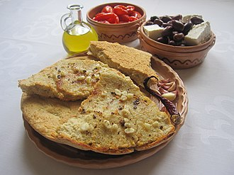 Buke misri (cornbread) is a staple on the Albanian table. Buke kollomoqe, buke misri.JPG