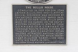 Photo of Bullis House, San Antonio, John L. Bullis, and Harvey L. Page black plaque