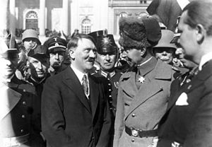 Abdication of Wilhelm II - Adolf Hitler and Crown Prince Wilhelm (second) meeting in Potsdam, 21/3/1933