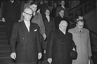 Johannes Dieckmann - Dieckmann, Wilhelm Pieck, and Otto Grotewohl on the 4th anniversary of the German Democratic Republic, 7 October 1953