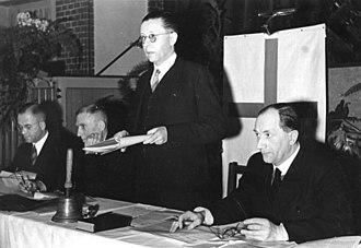 Gustav Heinemann - Heinemann, at the general synod of the Evangelical Church in Germany, 1949