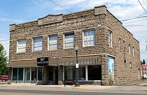 National Register of Historic Places listings in Wallowa County, Oregon - Image: Burnaugh Building 2014 Enterprise Oregon