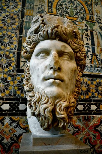 Ancient bust of Lucius Verus in the Bardo National Museum, Tunis, 2nd century AD Buste 4 Bardo National Museum.jpg