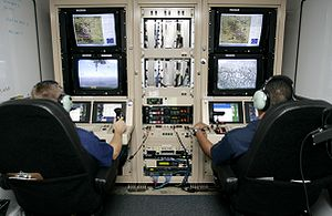 English: CBP Air and Marine officers control a...